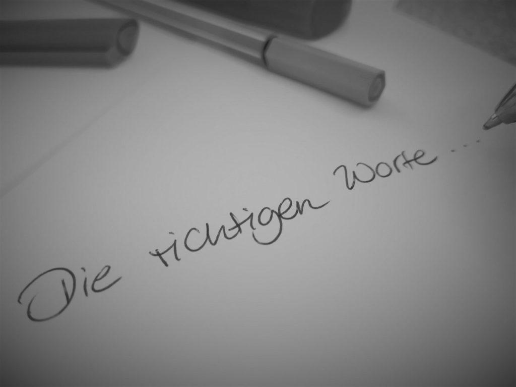 Handgeschrieben: Die richtigen Worte...