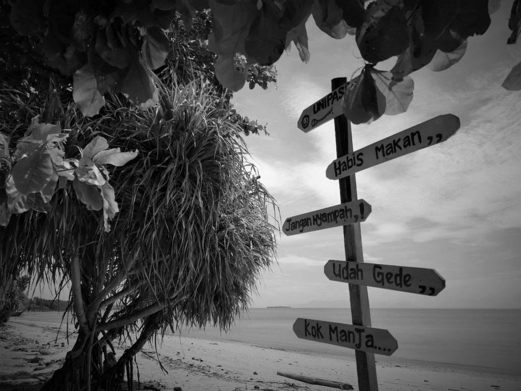 Verschiedene Wegweiser am Strand